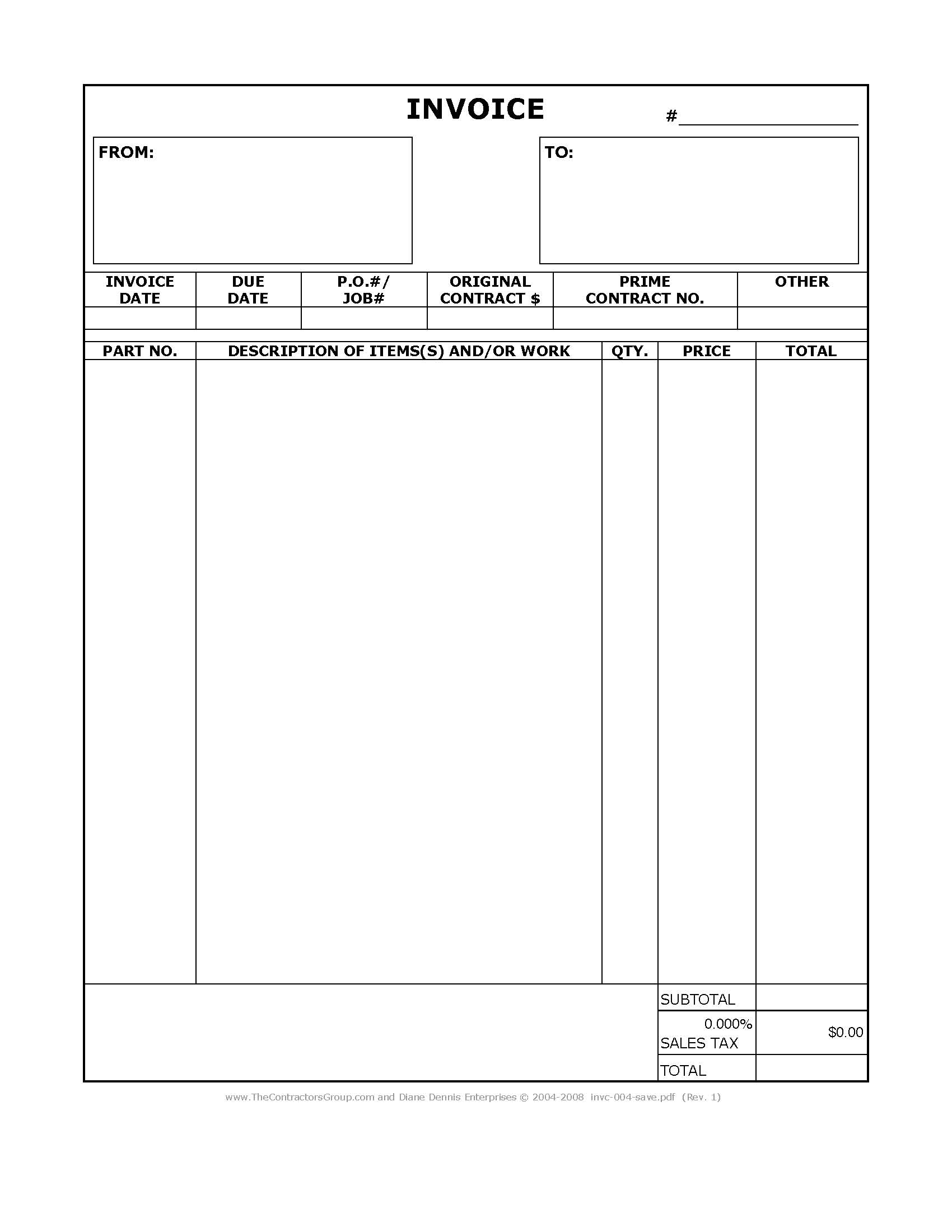 Image of a construction invoice form