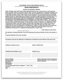 Image of, and link to, California 20-Day Preliminary Notice form