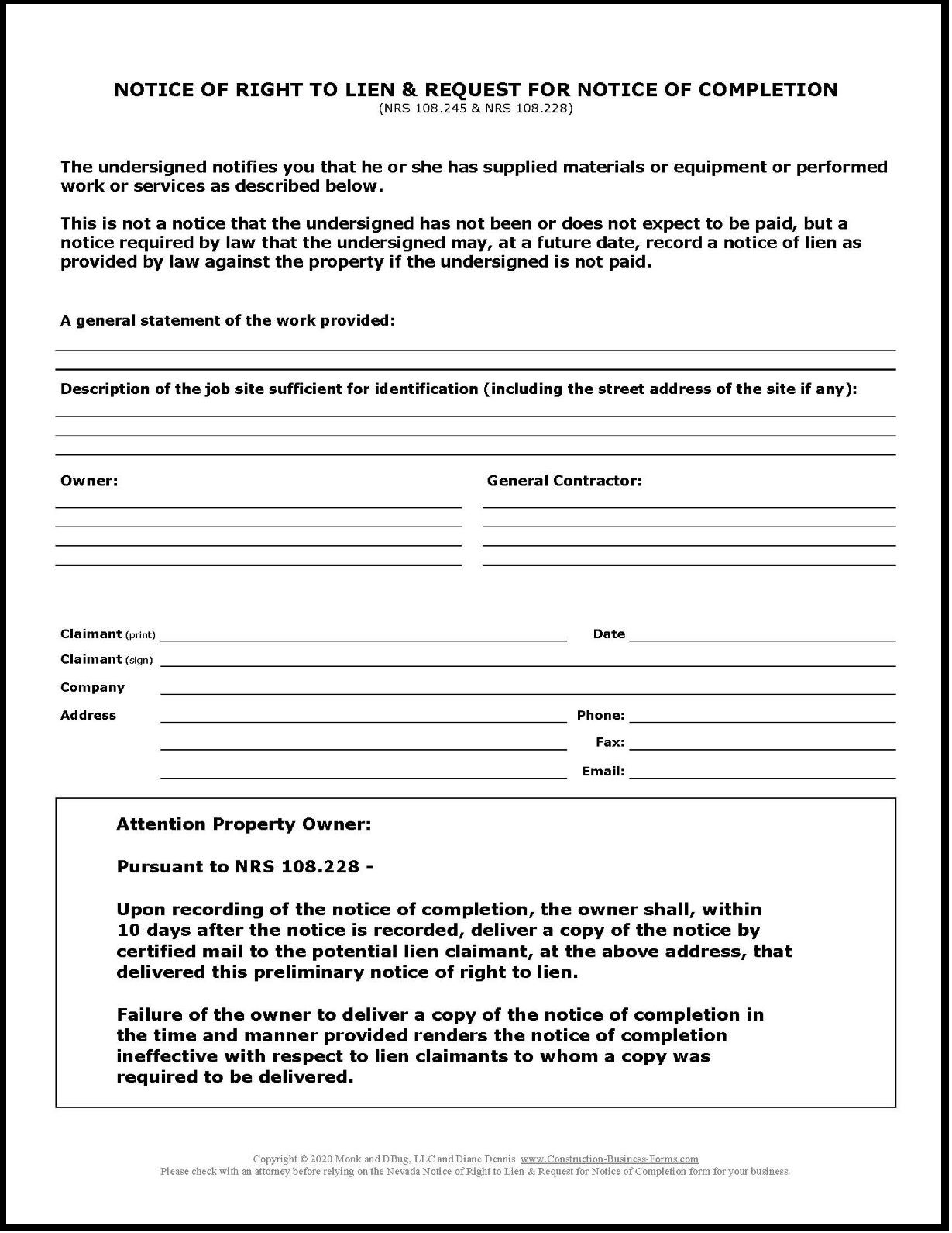 Image of, and link to, Nevada Notice of Right to Lien and Request for Notice of Completion.
