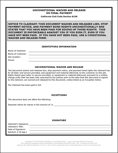 Image Of 4 Unconditional Waiver And Release Form Lien