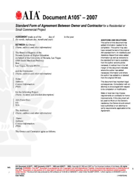 AIA A105 Standard Form of Agreement Between Owner and Contractor for a Residential or Small Commercial Project