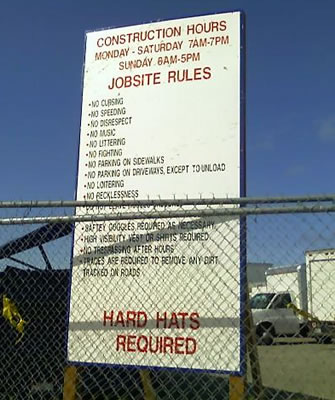 Image of military base requirements for contractors, posted at military base