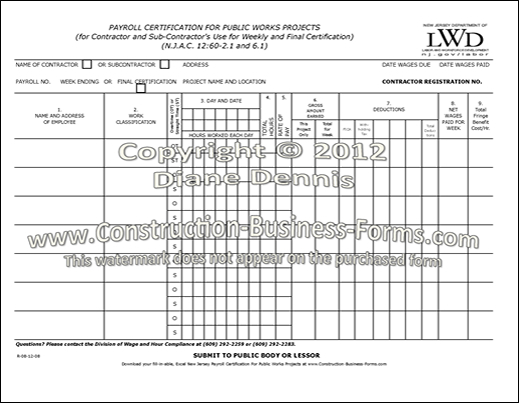 New Jersey Payroll Certification Form image and link
