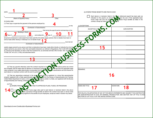 WH-348 Certified Payroll Forms - Click the image for an Excel version