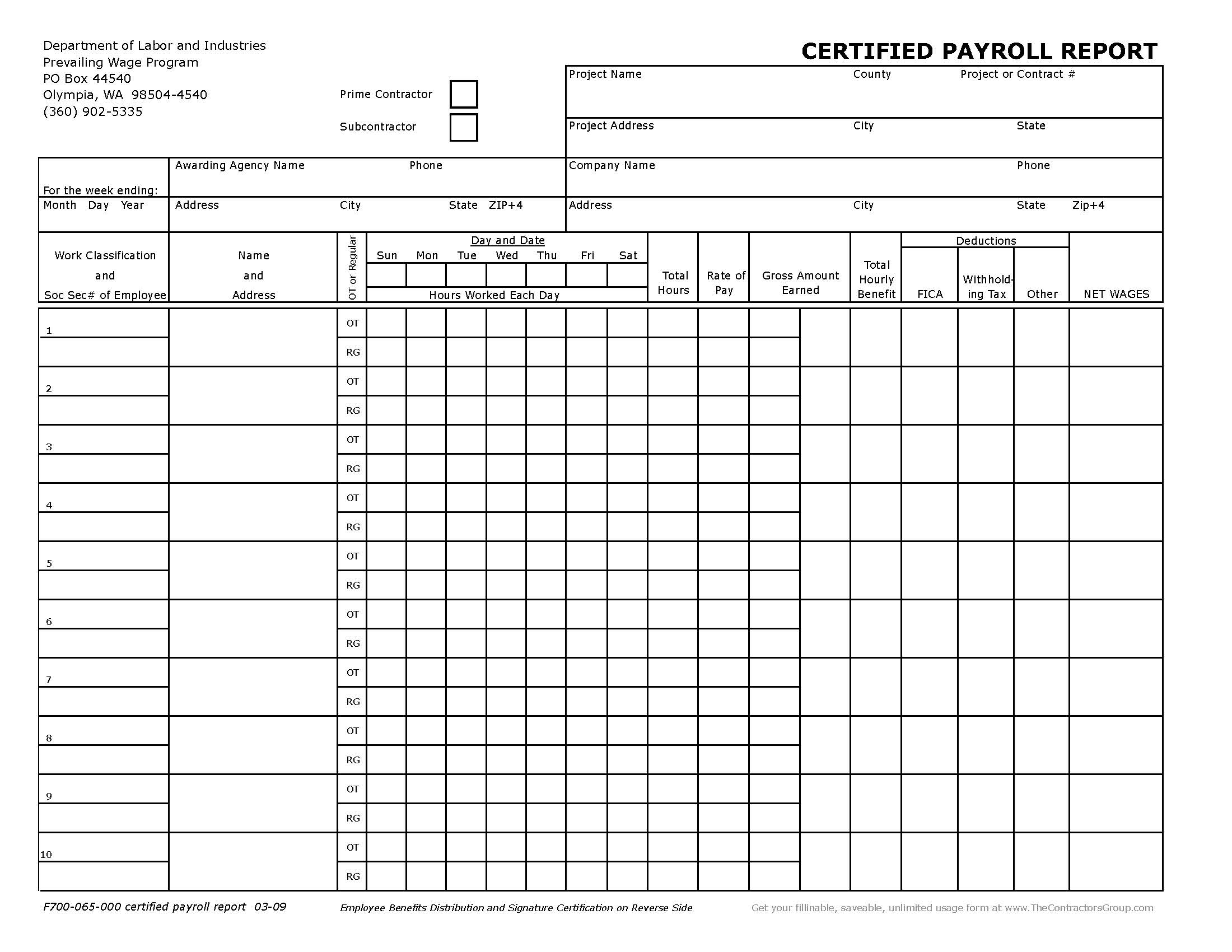 Image of F700-065-000 Washington Certified Payroll Report Form - Excel version does your calculations for you! Click Here!