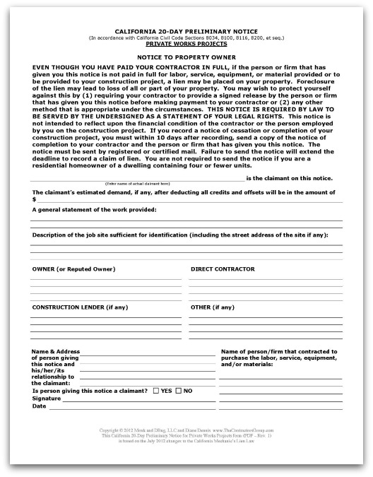 Image of preliminary lien notice with link leading to forms