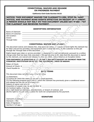 Image of, and link to, Conditional Lien Waiver and Release Upon Progress Payment aka #1 Lien Release