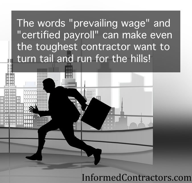 Image of man running from paying prevailing wage