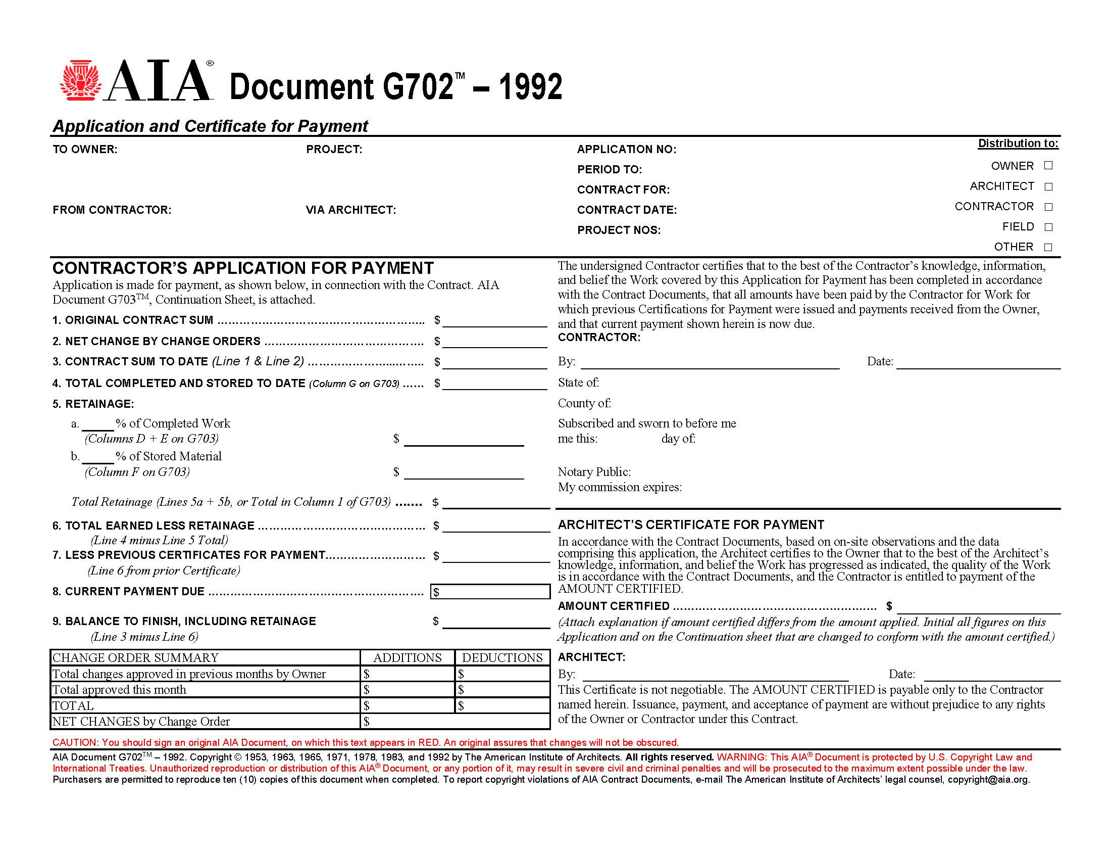 AIA G702 Contractor's Application for Payment form image