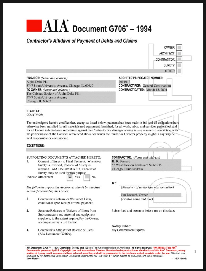 AIA G706 Contractor's Affidavit of Payment of Debts and Claims