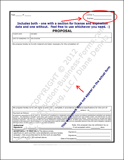 Image of, and link to, construction proposal forms to bid construction jobs.