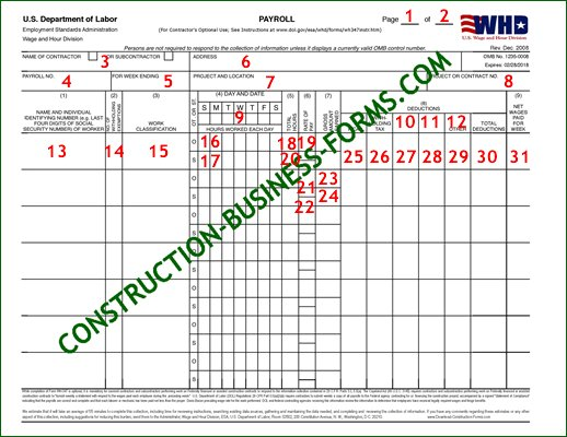 WH-347 Certified Payroll Forms - Click the image for an Excel version